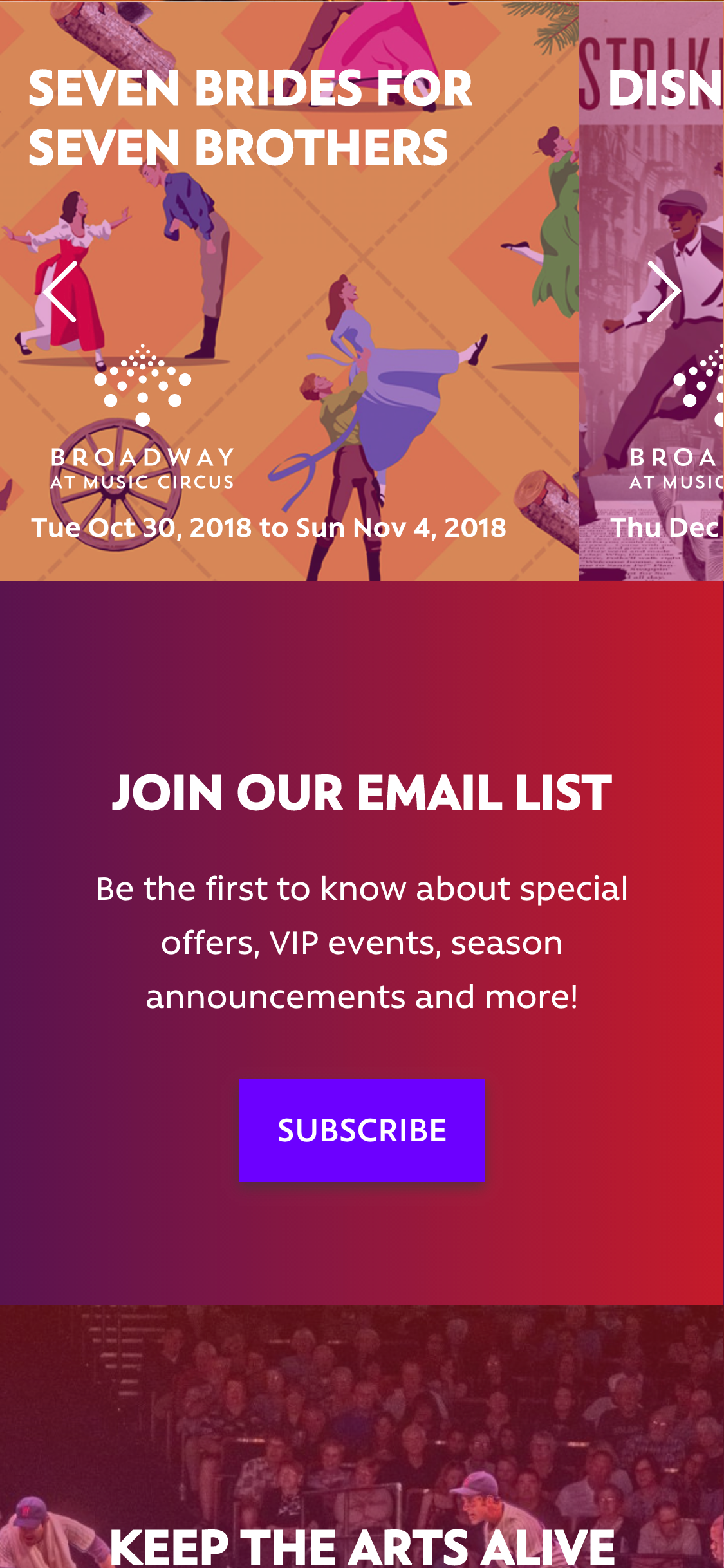 Broadway Mobile Homepage Example 2